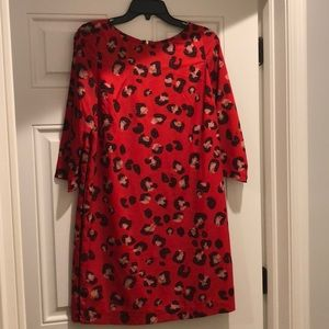 Red animal print shift dress